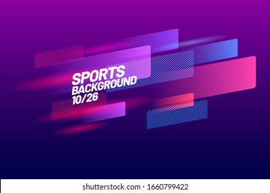 Sports background for event, tournament, championship or presentation. Layout design template with dynamical colored forms and line on dark background.