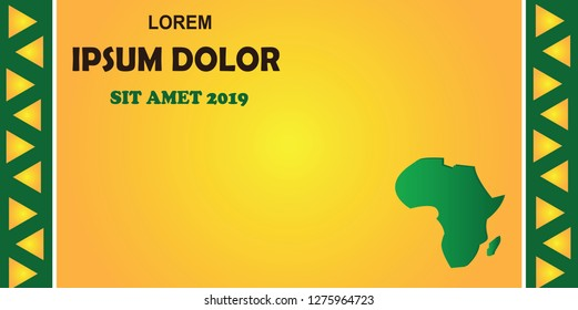 Sports background, green, yellow, vector illustration, Cameroon 2019