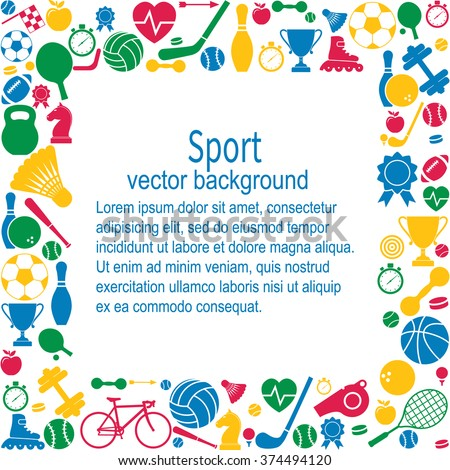 sports background sports icon space text image vectorielle de stock