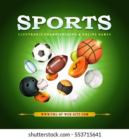 Sports Background/ Illustration of a sports banner with classic popular balls and bowls equipment, for football, soccer, rugby, tennis, and other on green flashy background