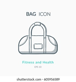 Sports bag icon isolated on white. Sports equipment vector logo. Modern pictogram for web graphics