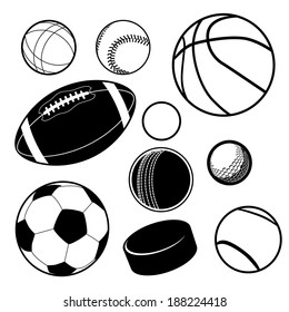 Sports ball collection EPS 10 vector, grouped for easy editing. No open shapes or paths.