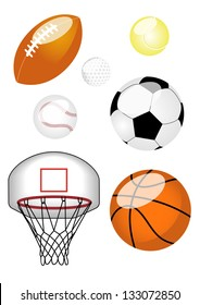 Sports Ball Set Set of six sports balls including American football, tennis ball, baseball, football, basketball, and basketball net.