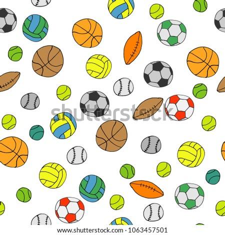 Sports Balls Background Vector Illustration Volleyball Football Basketball Baseball Rugby