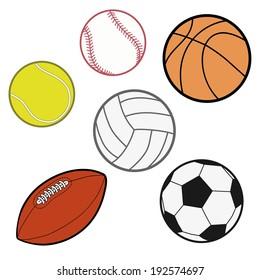 Sports Balls  (baseball, basketball, tennis ball, volleyball, rugby, soccer ball) Illustration Vector