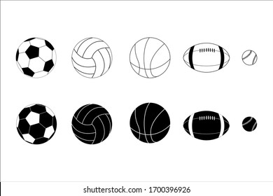 sports Balls (baseball, basketball, volleyball, rugby, soccer ball) outline Illustration Vector