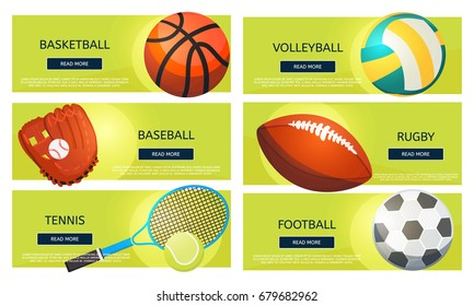 Sports balls and equipment icons of gaming accessories. Football, basketball, tennis, baseball, rugby, voleyball vector banners. Creative sport games concept banners.