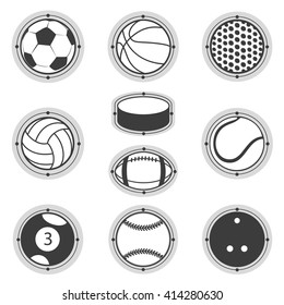 Sports Balls. Football, basketball, golf, volleyball, hockey, american football, tennis, billiard, baseball, bowling
