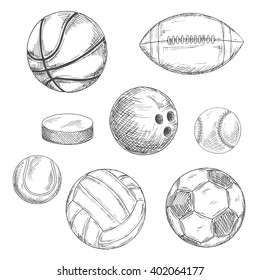 Sports balls and ice hockey puck sketches with american football and soccer, ice hockey and basketball, baseball and volleyball, bowling and tennis balls. Sport team or competition design usage