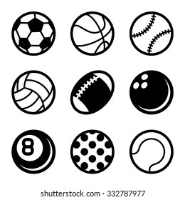 Sports Balls Icons Set on White Background. Vector