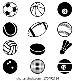 Sports Balls Icons set. Vector Illustration