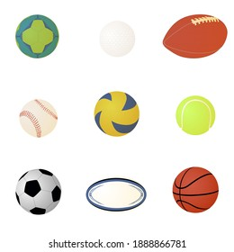 Sports balls isolated on a white background. Vector.