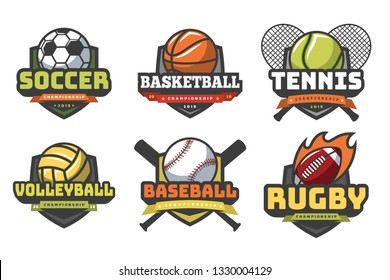 Sports balls logos. Sport logo ball soccer basketball volleyball football rugby tennis baseball badge team club game emblem vector set
