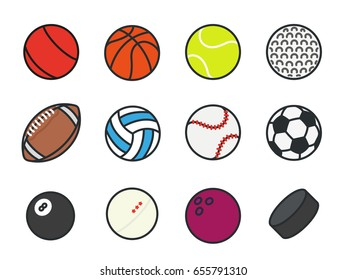 Sports Balls Minimal Color Flat Line Vector Icon Set. Soccer, Football, Tennis, Golf, Bowling, Basketball, Hockey, Volleyball, Rugby, Pool, Baseball, Ping Pong.