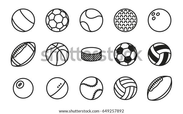 Sports Balls Minimal Flat Line Vector Icon Set. Soccer, Football, Tennis, Golf, Bowling, Basketball, Hockey, Volleyball, Rugby, Pool, Baseball, Ping Pong.