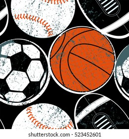 Sports balls seamless pattern .