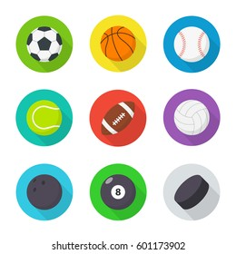 Sports balls set. Flat, cartoon balls for playing soccer, basketball, volleyball, baseball etc. Vector icons sports equipment.