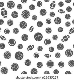 Sports balls vector seamless pattern