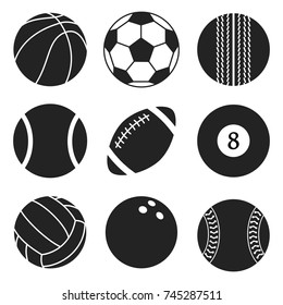 Sports balls vector set. Cartoon ball icons. Black and white cut collection. Vector silhouettes. Flat style.