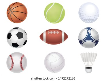 Sports balls vector set isolated on a white background.