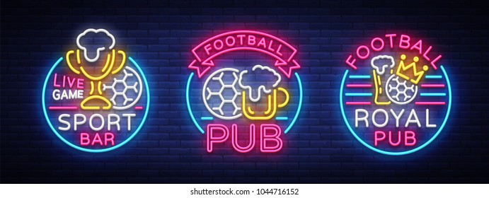 Sports bar collection of logos in neon style. Set neon signs, soccer fan club, light banner label beer and soccer ball or bowl for live gaming tournaments or championships team. Vector illustration
