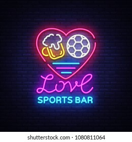 Sports bar logo neon vector. Sports pub neon sign, I love beer and Soccer concept, nightlife bright signboard for sports pub, bar, fan club, dining room, soccer cup, football online. Vector