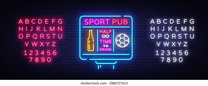 Sports bar logo neon vector. Sports pub neon sign, Football scoreboard concept, nightlife bright signboard for sports pub, bar, fan club, soccer cup, football online. Vector. Editing text neon sign