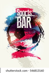 Sports Bar typographic vintage style grunge poster. Retro vector illustration.