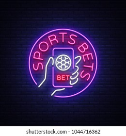 Sports betting is a neon sign. Design template, Neon style logo, bright banner, night advertising for your projects, smartphone in your hand, online betting on football. Vector illustration