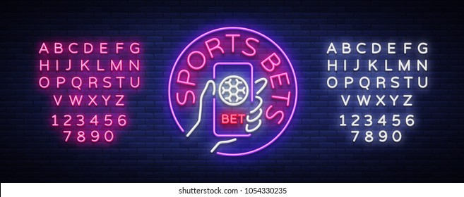 Sports betting is a neon sign. Design template, Neon style logo, bright banner, night advertising, smartphone in your hand, online betting on football. Vector illustration. Editing text neon sign
