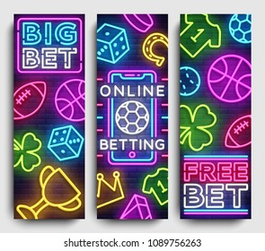 Sports betting vertical banner vector design template. Neon Signs, Light Banner, Bright Night Neon Advertising Bets, Gambling, Casinos. Vector illustration