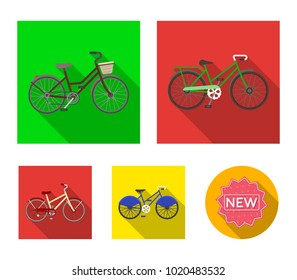 Sports bike and other types.Different bicycles set collection icons in flat style vector symbol stock illustration web.
