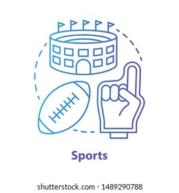 Sports blue concept icon. Producing and organizing sport activity idea thin line illustration. Business industry. Leisure time places, fitness product. Vector isolated outline drawing. Editable stroke