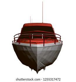 Sports boat red and white. Front view. Polygonal boat 3D. Vector illustration.