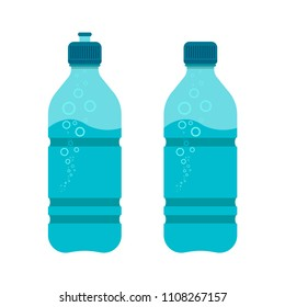 Sports bottle icon. Bottle with water. Bottle with water for sports and training, travel. Vector illustration.
