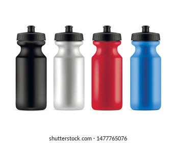 Sports bottles realistic vector illustrations set. Fresh water plastic containers 3d mockup. Athlete accessory, fitness equipment store item. Active recreation, healthy lifestyle, training attribute