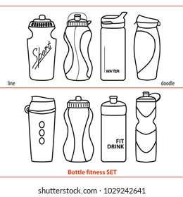 Sports bottles for water or protein cocktails. Healthy lifestyle. Drinks for fitness. Linear illustration on white background. Doodle drawings.