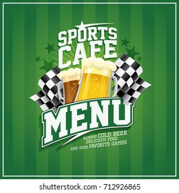 Sports cafe menu card with beer mugs and checkered flags