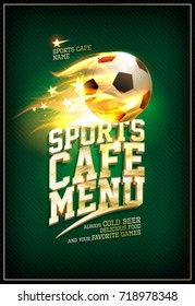 Sports cafe menu card concept with fiery soccer ball