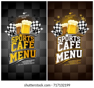 Sports cafe menu cards set, black and brown