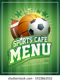 Sports cafe menu vector card template with football, basketball and rugby balls