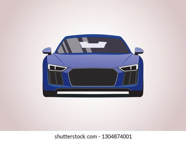 sports car front view. Audi R8.