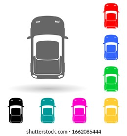 Sports car multi color style icon. Simple glyph, flat vector of transport view from above icons for ui and ux, website or mobile application