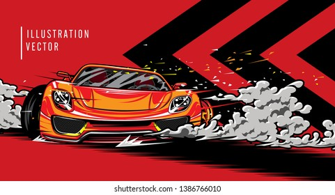 Sports car on the road. Modern and fast vehicle racing. Super design concept of luxury automobile. Vector illustration
