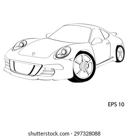 Sports car, the Porsche 911. Vector illustration