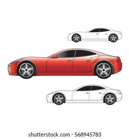 sports car in red & black outline-vector drawing