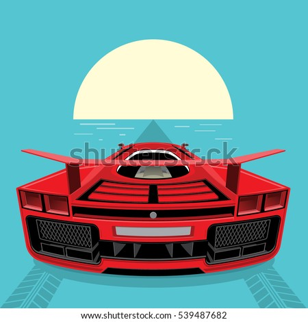 Sports Car Red Color Rushes Horizon Stock Vector Royalty Free