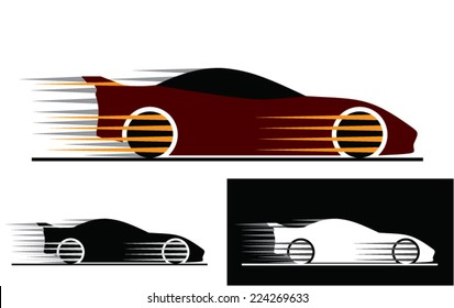 Sports car silhouettes with  motion trails.