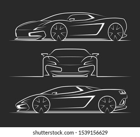 Sports car silhouettes, outlines, contours. Front, side, perspective view of sportscar. Can be used as a part of an emblem, label, icon, logo. Vector illustration
