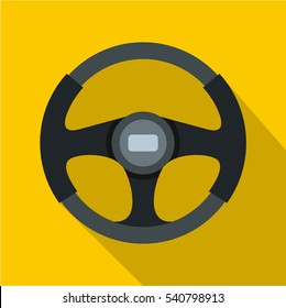 Sports car steering wheel icon. Flat illustration of steering wheel vector icon for web isolated on yellow background